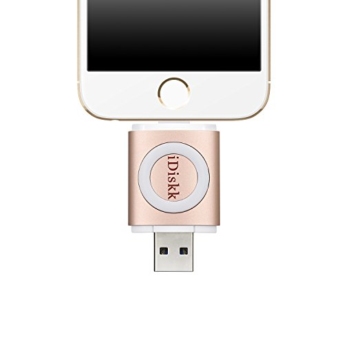 Price comparison product image iDiskk [Apple MFI Certified] USB 3.0 Flash Drive with Lightning Connector for iPhone iPad iPod PC (Rose Gold-16GB)