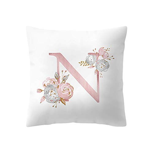 DZT1968  45x45 cm Kids Room Decoration Letter Pillow English Alphabet Pillow Cases -Super Soft Fabric|Bright Colors One-Sided Embroidery Christmas Decor,A-Z (N)