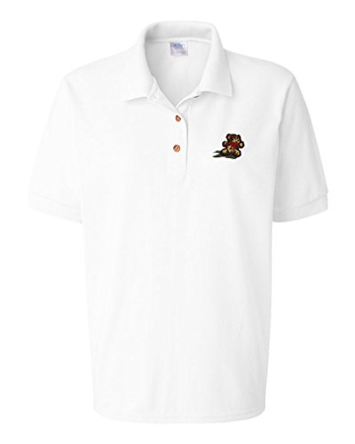 Teddy Bear Embroidery Design Adult Cotton Short Sleeve Polo Shirt White X-Large (Teddy Design Embroidery)