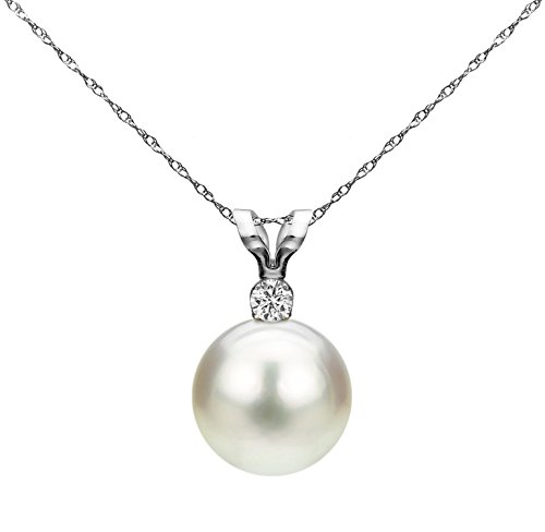 Gold Diamond Necklace Womens (La Regis Jewelry White Saltwater Cultured Japanese Akoya Pearl Diamond Pendant Necklace 14K White Gold 1/100 CTTW)