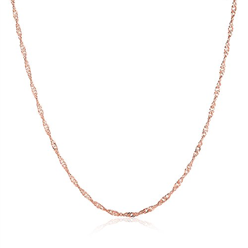Ladies Gold Chains (18K Rose Gold Plated Chain Necklaces Fashion Women Jewelry Wedding Engagement Necklace Sets for Ladies (Chain necklace))