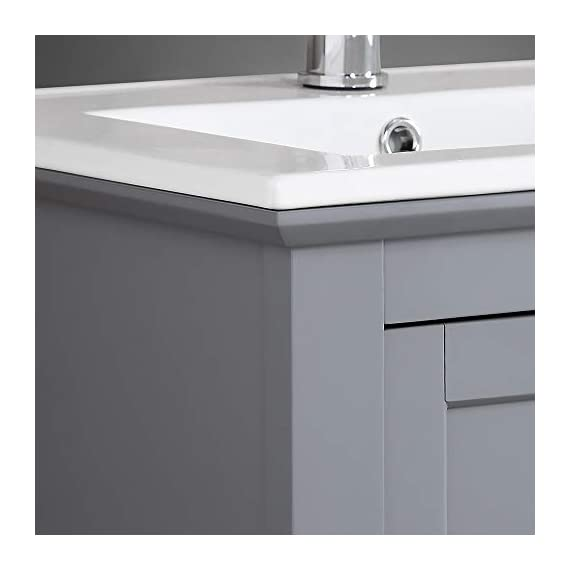 "Fresca Manchester 24"" Gray Traditional Bathroom Vanity - Dimensions of Vanity: 23.5""W x 18""D x 34""H Vanity Materials: Solid Wood Frame with MDF Panels Countertop/Sink Materials: Integrated Ceramic Sink - bathroom-vanities, bathroom-fixtures-hardware, bathroom - 31j8TfnSruL. SS570  -"