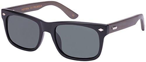 Edge I-Wear Retro Horned Rim Style Bamboo Sunglasses with Polarized Lenses by