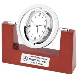 Revolving Silver Metal Trim Chrome Desk Clock with Wooden Base and Engraving Plate. Retirement Personalized Gift Clock, Service Award and Appreciation Recognition Gift