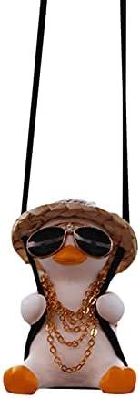 Swinging Duck Car Hanging Ornament, Cute Swing Duck On Car Rear View Mirror Pendant, Ladies and Men Car Decora