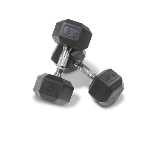 Hampton 40 lb. DURA-BELL (Urethane Hexagon D/B) Hard Chrome Ergo Handle (Hexagon Dumbbells Best Prices)