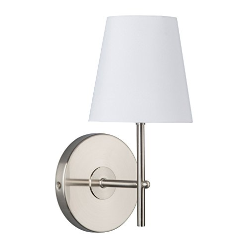 Tamb Wall Sconce 1-Light Fixture with Fabric Shade - Brushed Nickel - Linea di Liara LL-SC201-BN Uplight Brushed Nickel Chandelier