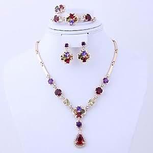 De la flor del Rhinestone de la joyería de la manera de señora JXX Set (incluye collar pulsera anillo pendiente)