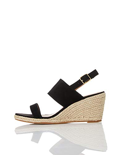 (Amazon Brand - find. Women's Leather Wedge Heel Espadrille Shoes Black), US 8.5)