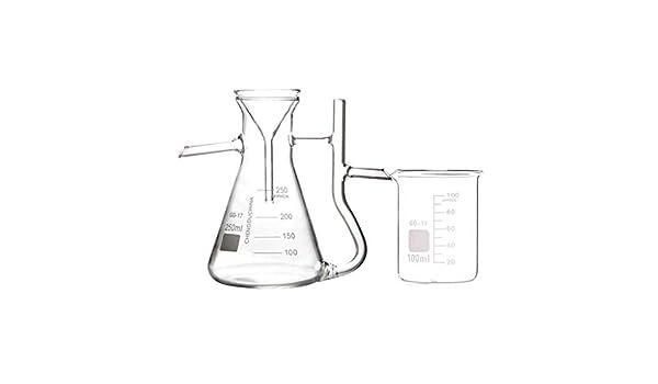 XIAOXIAO Frasco volumétrico de Vidrio de Laboratorio 250 ml Triángulo Purificador de Agua de Laboratorio ...