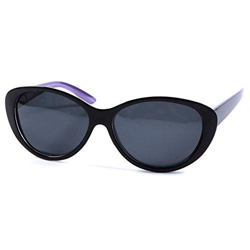 Womens Lunettes de soleil polarisées Style rétro Cadre 100% UV400lentille et Pouch–Beaucoup de Couleurs Black / Purple Inner