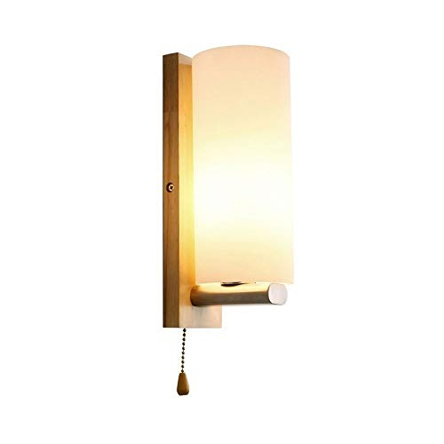 - Yaione American Solid Wood Glass Rural Wall Lamp Square Base Mediterranean Restaurant Cafe Ambient Light Wall Light E27 Warm Pull Switch Illumination Fixture Garden Villa Aisle Landscape Wall Sconce
