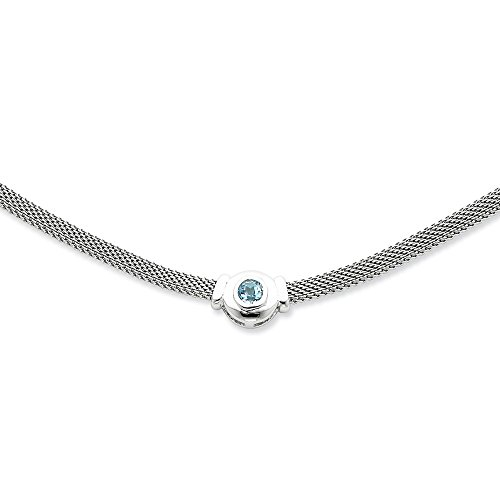 925 Sterling Silver Blue Topaz Link Mesh Chain Necklace Pendant Charm Gemstone Fine Jewelry Gifts For Women For Her