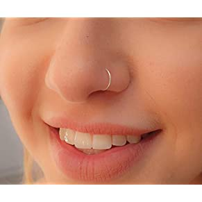 Tiny Silver Nose Ring hoop - 24 gauge snug Nose Hoop thin nose Piercings hoops - nose piercing rings
