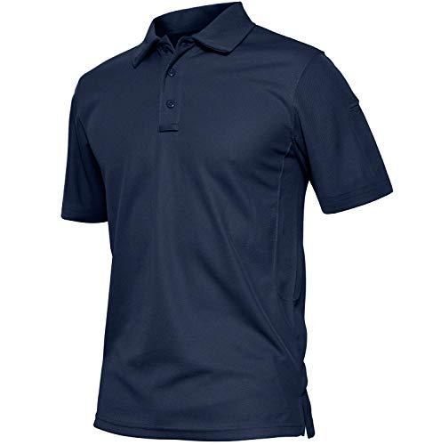 TACVASEN Poids léger Séchage Rapide Manche Longue Chemise Polo Respirant Top T Shirt Homme 1
