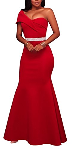 Womens-Sexy-One-Shoulder-Ponti-Gown-Mermaid-Evening-Maxi-Party-Dress