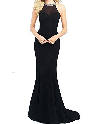 Promstar Women's Elegant Tulle Beaded Halter Long Cockail Prom Evening Dresses Black Beaded Halter