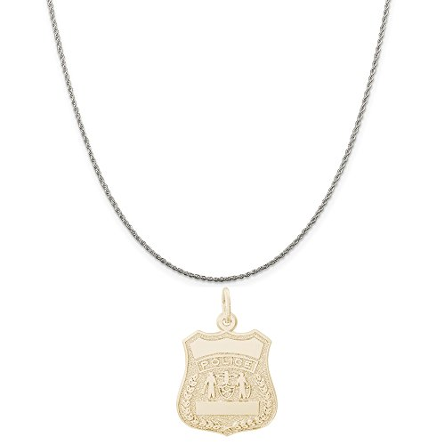 Authentic Police Uniform (Rembrandt Charms Two-Tone Sterling Silver Police Badge Charm on a Sterling Silver Rope Chain Necklace, 16