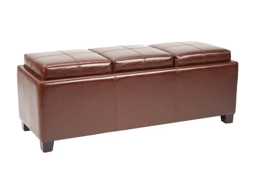 Safavieh Hudson Collection Gramercy Brown Leather Triple Tray Ottoman