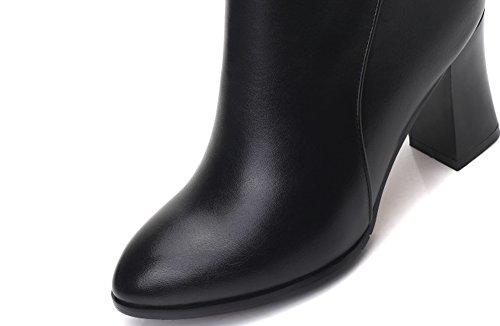 Surface Booties Martin Buckle Ankle QZUnique Heel Zipper Women Chunky PU Boots Black Elegant z1q4wO
