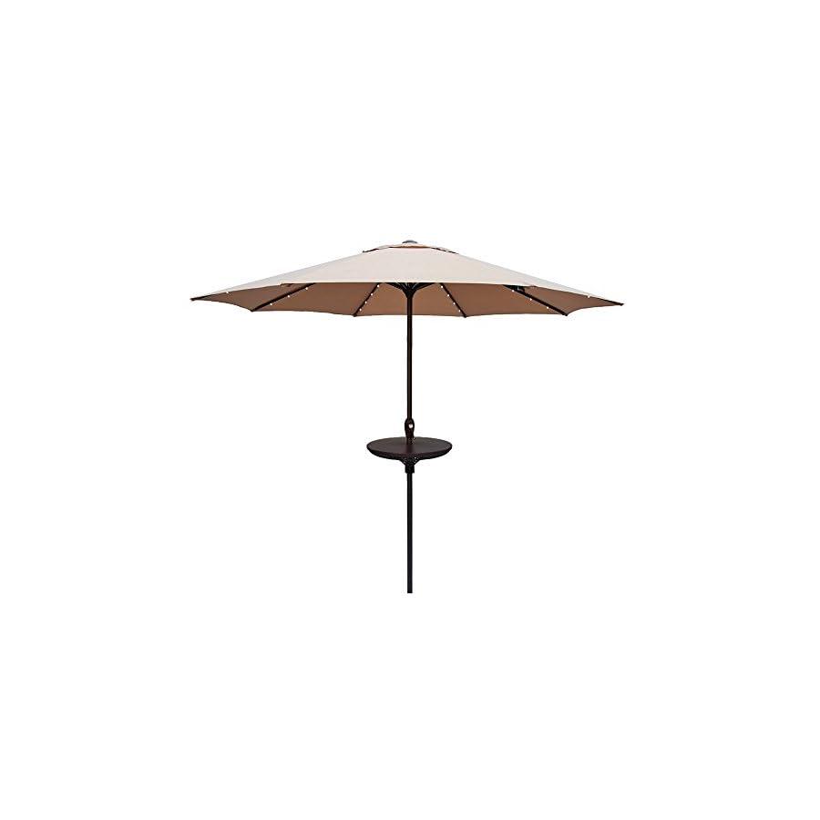Le Papillon Outdoor Umbrella Table 23 Inch Adjustable All Weather Patio Umbrella Accessory, Brown