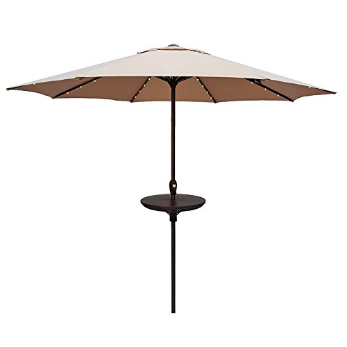 Le Papillon Outdoor Umbrella Table 23 Inch Adjustable All Weather Patio Umbrella Accessory, Brown