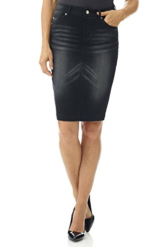 Black Button Tab Pencil Skirt - Rekucci Women's