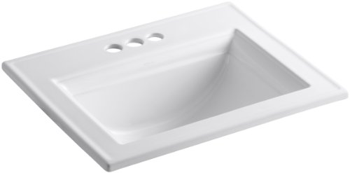 KOHLER K-2337-4-0 Memoirs Self-Rimming Bathroom Sink Sink with Stately Design, White - 22-3/4