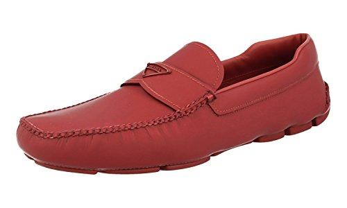 Prada Men's 2DD127 Red Leather Loafers EU 9 (43) / US - Red Prada Dress