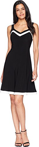 Chaps Women's Two-Tone Jersey Dress Black/Colonial Cream X-Large