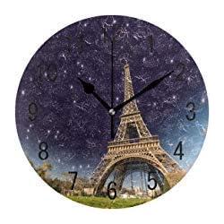 Wonderful Night Eiffel Tower Paris Round Wood Wall Clock for Home Decor Living Room Kitchen Bedroom Office School