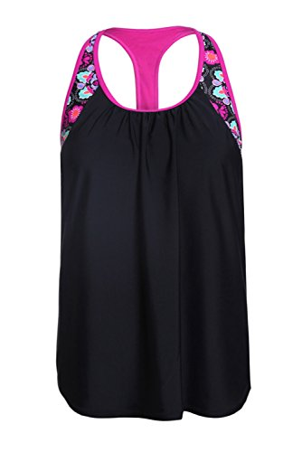 Women's Blouson Floral T-Back Push up Tankini Top Halter Padded Slimming Swimsuit Sporty Swimwear Black L 12 14 by Dearlove (Image #4)