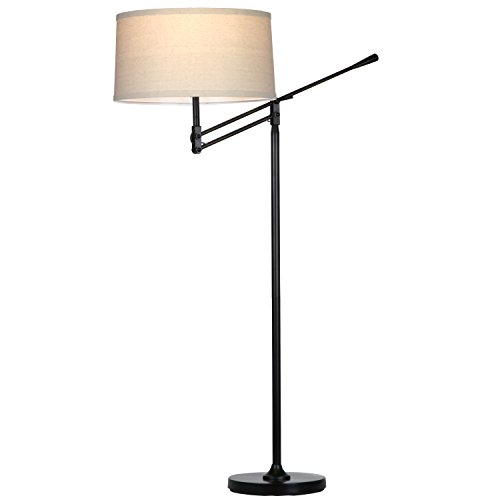 Brightech Ava LED Floor Lamp for Living Rooms - Standing Pole Light with Adjustable Arm - Office and Bedroom, Bright Reading Downlight with Drum Shade - Black by Brightech (Image #4)