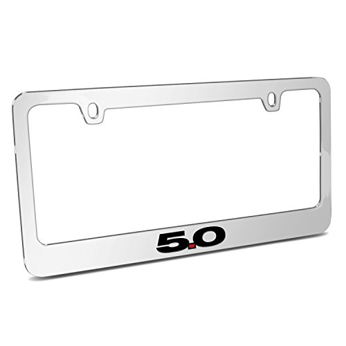 (Ford Mustang 5.0 Mirror Chrome Metal License Plate Frame by iPick Image, Official Licensed Product, Made in the)
