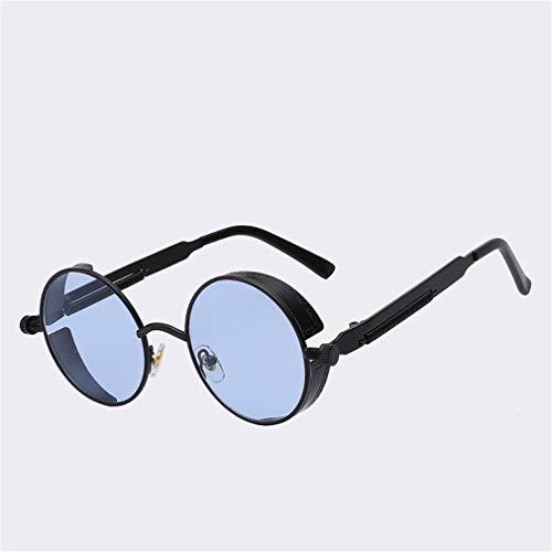 Gothic Steampunk Mens Sunglasses Vintage Metal Men Sunglasses Women Round Sun Glasses Retro Eyewear UV400 Black w sea blue len