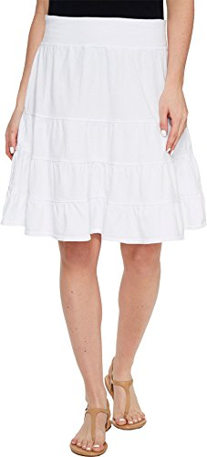 s Jersey Tiered Skirt White Large (Cotton Unlined Skirt)