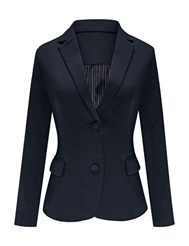 (Luyeess Women's Casual Work Office Notch Lapel Pocket Buttons Blazer Suit Jacket Navy Blue Size L)