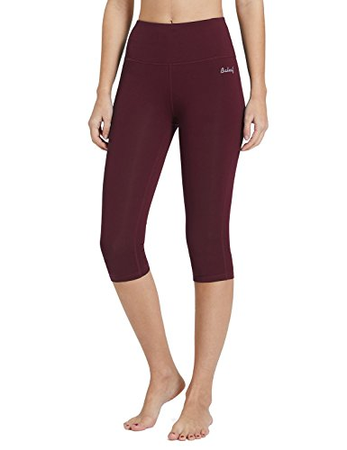 Baleaf Women's High Waist Yoga Activewear Workout Capris Leggings Inner Pocket Tummy Control Wine Red Size L (Capris Danskin)