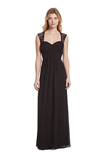 Samantha Paige Sweetheart Neckline Lace Shoulder Strap Pleated A-line Chiffon Formal Dress,Black,12 ()