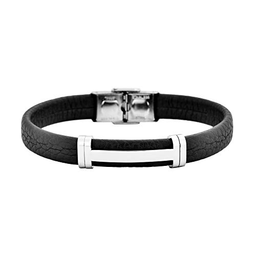 - Geoffrey Beene Men's Genuine Leather Bracelet with Stainless Steel Cut-Out ID, Black