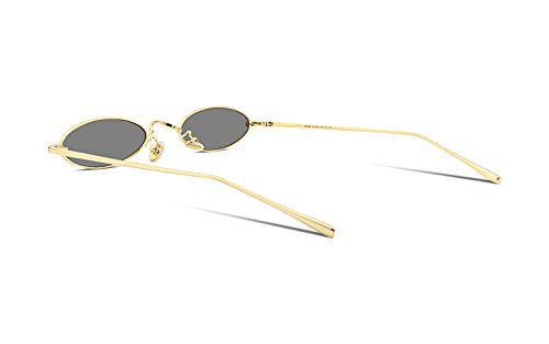 b460a4de25 FEISEDY Vintage Small Sunglasses Oval Slender Metal Frame Candy ...