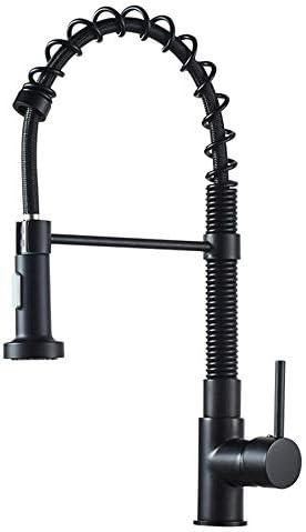 プルダウンスプレー付きキッチン蛇口,キッチンシンクの蛇口黒360回転引き込み式シングルハンドルデュアルモード蛇口