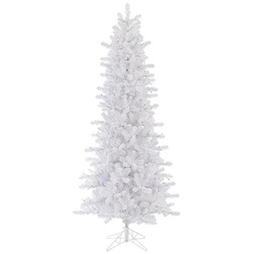 Slim Unlit Christmas Tree (Vickerman 75' Unlit Crystal White Pine Artificial Christmas Slim Tree)