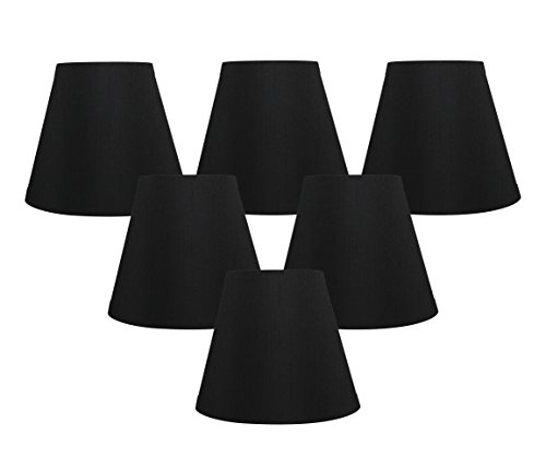 Meriville Set of 6 Black Faux Silk Clip On Chandelier Lamp S