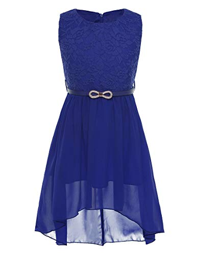 CHICTRY Big Girls' Kids' Chiffon Floral Lace High-Low Dance Prom Party Gown Flower Girl Dress with Belt (6, Belted Royal) (Belt Belted Lace)