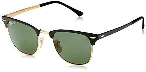 Metal Polarized (Ray-Ban Metal Unisex Polarized Square Sunglasses, Gold Top Black, 51 mm)