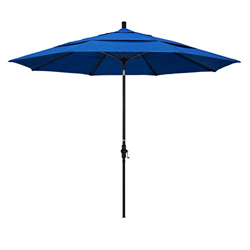 California Umbrella 11' Round Aluminum Pole Fiberglass Rib Market Umbrella, Crank Lift, Collar Tilt, Bronze Pole, Royal Blue Olefin ()