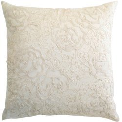 Room with a View C815 ivory Ivory polysilk with cord beige cord embroidery pillow. by Room with a View