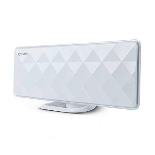 ANTOP Indoor TV Antenna Indoor Flat 50 Miles Antenna with Exclusive Amplifier Booster, 4G Filter for Noise-Free, Multi-Directional Reception, 10 ft Coaxial Cable, Diamond-Cut Surface, White(AT-201B) (