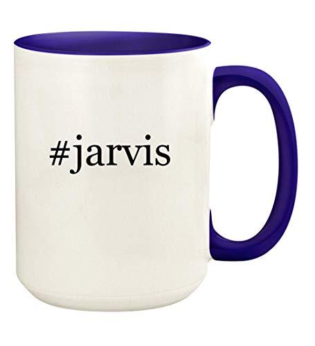 #jarvis - 15oz Hashtag Ceramic Colored Handle and Inside Coffee Mug Cup, Deep Purple